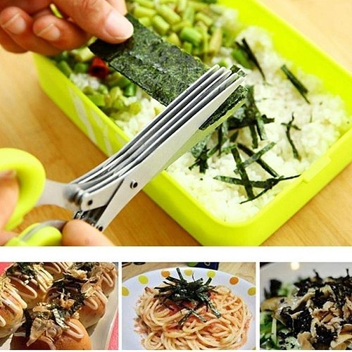 Muti-Layers Kitchen Scissors Stainless Steel Vegetable Cutter Scallion Herb Laver Spices cooking Tool Cut Kitchen Accessories