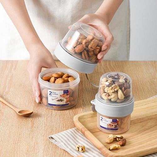 PP Food Storage Box Plastic Clear Container Set with Pour Lids Dual Layer Kitchen Storage Bottles Jars Dried Grains Tank