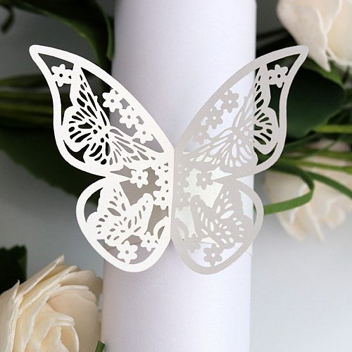 50pcs 10 Colors Butterfly Style Laser Cut Paper Rings Napkins Holders Hotel Birthday Wedding Xmas Party Favor Table Decoration