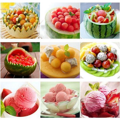 2 In 1 Ice Cream Ball Spoon DIY Assortment Baller Fruit Digging Spoon Tool Watermelon Melon Fruit Carving Gadge Knife