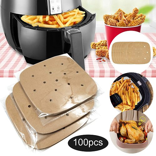 100pcs Air Fryer Steamer Liners Steaming Basket Mat Non-Stick Steaming Basket Mat Food Grade Square Baking Tool Kitchen Supplies