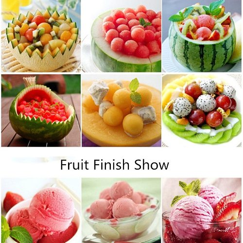 Melon watermelon Ball Scoop Fruit Spoon Ice Cream Sorbet Stainless Steel Double-end Cooking Tool Kitchen Accessories Gadgets