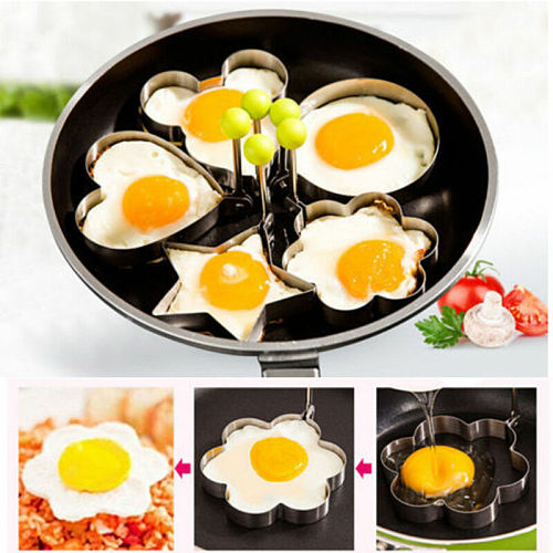 Fried Egg Mold Stainless Steel Shaper Pancake Poach Egg Ring Mould Breakfast Heart Star Flower Mickey Round Kitchen Cooking Tool