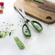 Multi-functional Stainless Cooking Steel Kitchen Knives 5 Layers Scissors Shredded Scallion Cut Herb Spices Scissors