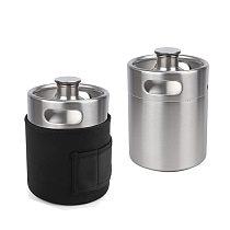 2L Stainless Steel Mini Beer Keg Pressurized Growler With Neoprene Parka,Keep Cooler Insulation Jacket Home Brew Beer Bewing