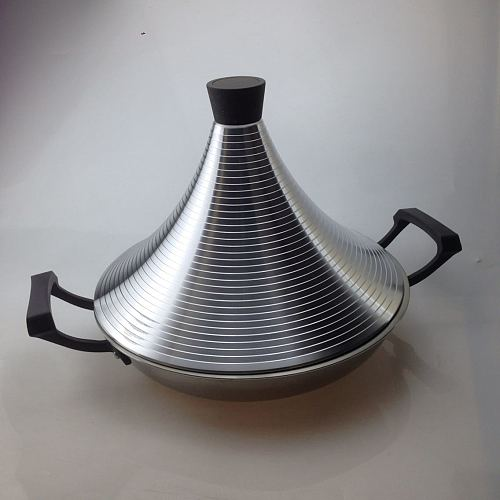 Non stick Tagine Taji pot stainless steel tower stew dry pot seafood high lid pan electromagnetic cooker Moroccan Tajine