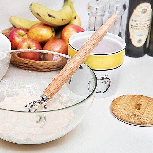 Stainless Steel Egg Beater Flour Coil Agitator Danish Whisk Stick Oak Wood Handle Blender DIY Bread Dough Bakeware Gadget