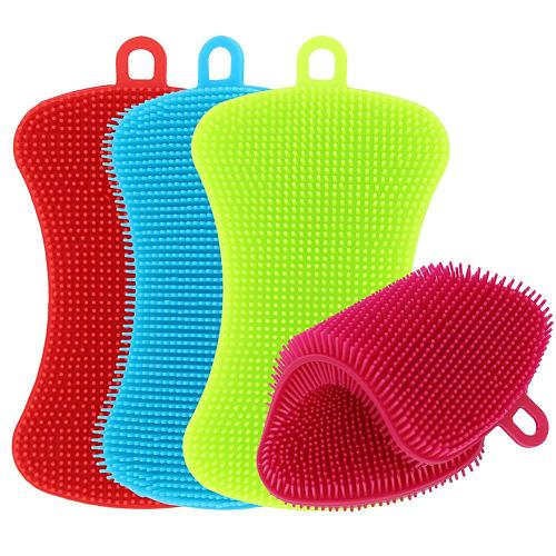 1/3/4pcs Kitchen Cleaning Brush Silicone Dishwashing Brush Pot Pan Sponge Scrubber Fruit Vegetable Dish Washing Cleaning Brushes