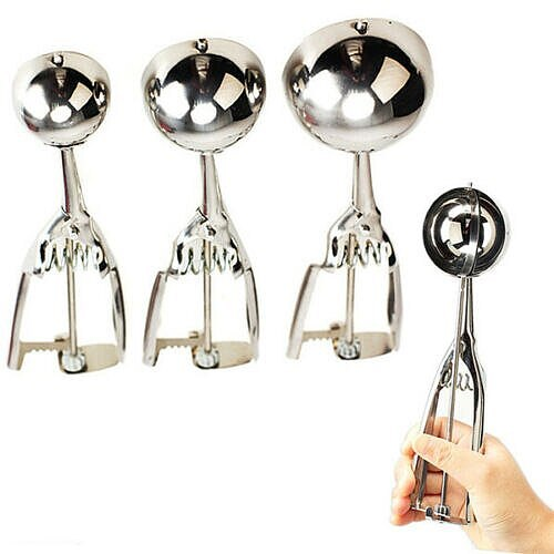 Stock 3Pcs Stainless Steel Ice Cream Spoon Fruit Spoon Melon Baller Small Middle Scoop Kitchen Tool