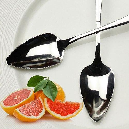 ZORASUN 2PCs Fruit Grapefruit Spoons Stainless Steel Grapefruit Spoons 17cm Long Handle Fruit Spoon Fork