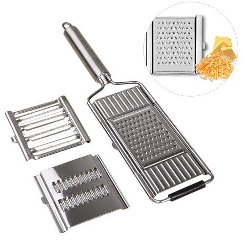 3-in-1 Multi-use KItchen Slicer Set Lemon Cheese Grater Stainless Steel Vegetable Cutter Replaceable Shredder Slicer for Onion