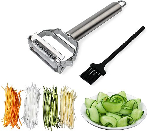 1pcs Stainless Steel Cutter Slicer with Cleaning Brush Pro for Carrot Potato Melon Gadget Vegetable Fruit