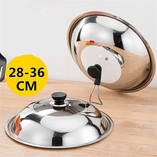 Pan Lids 28-36cm Frying Pan Lid Stainless Steel Pot Lid Pan Cover Thicken Visible Wok Lid Glass Lid Wok Lid Frying Pan Cover