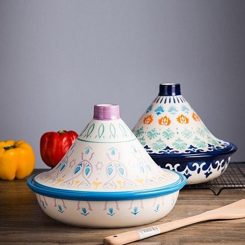 European creative underglaze color Taji pot ceramic non-open flame tableware microwave oven pot casserole stone bowl CL102107