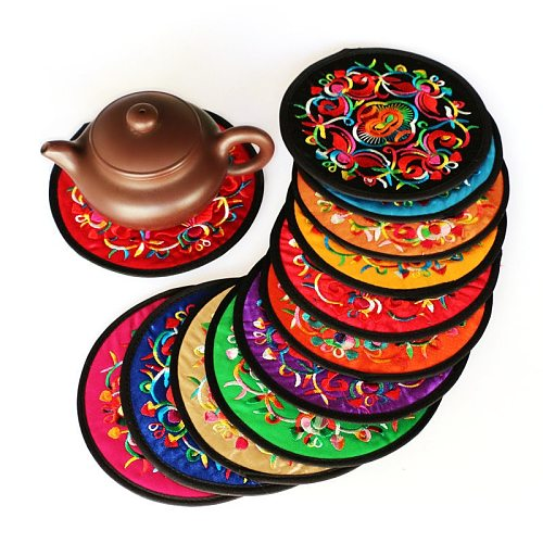 Round Heat Resistant Cloth Mat Ethnic Style Embroidery Art Drink Cup Coasters Non-slip Pot Holder Table Placemat Kitchen Accesso