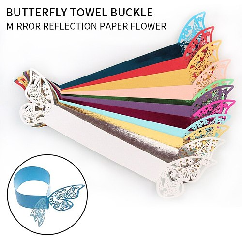 50pcs 12 colors Butterfly Style Laser Cut Paper Napkin Rings Napkins Holders Hotel Birthday Wedding Party Favor Table Decoration