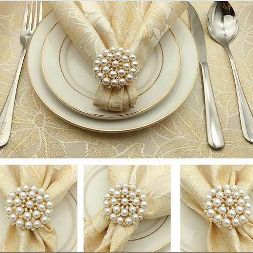 10pcs SHSEJA Deluxe Napkin Ring Hotel Wedding Supplies Napkin Ring Gold Plated Diamond Pearl Napkin Buckle Desktop Decoration