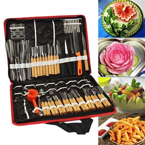 80pcs/Set Hot Multifunctional Portable Vegetable Fruit Food Wood Box Engraving Peeling Carving Tools Kit Pack Hogard
