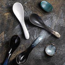 Ceramic ramen spoon bubble noodles spoon small spoon dessert spoon eating spoon congee spoon Japanese and Korean tableware spoon
