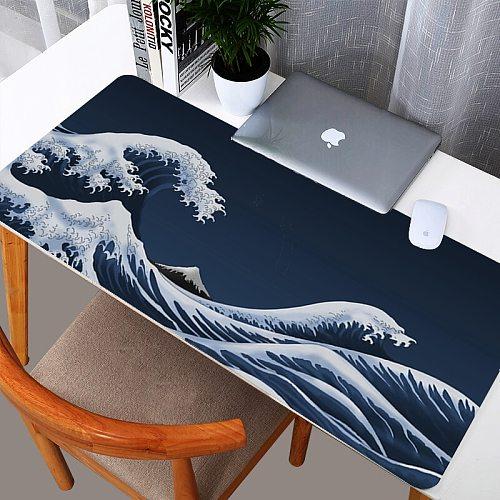 Japan Great Wave Mousepad Large Gaming Mouse Pad Gamer Locking Edge Otaku Desk Mat 30cmX60cm/40cmX90cm Table Carpet