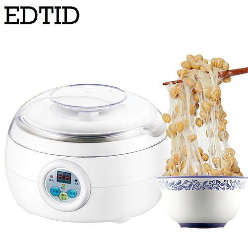 EDTID Automatic Electric Natto Maker Stainless Steel Cups Yogurt Tempeh Pickled Vegetable Rice Wine Machine Leben Fermenter 1.5L