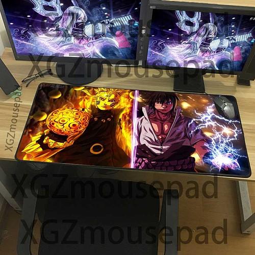 XGZ Large Anime Mouse Pad Black Lock Edge  Computer Keyboard Desk Mats Sasuke Printing Rubber Non-slip 900x400/600x300