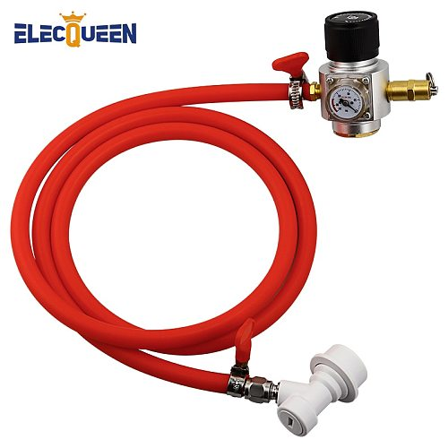5/16  PVC Gas Line Assembly,0-90 PSI Soda Bottle CO2 Mini Gas Regulator with Relief Valve T21*4 - Homebrew Draft Beer Dispensing
