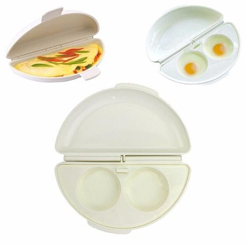 1PC Microwave Omelet Plate Plastic Two Eggs Microwave Omelet Cooker Pan Pot Multifunctional Fried Nonstick Eggs Tray for Kitchen