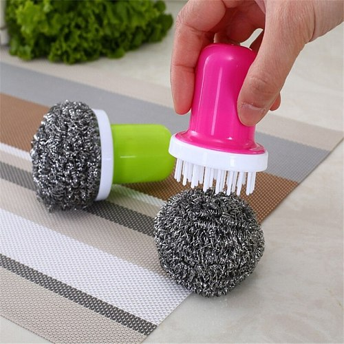 1Pcs Cleaning Steel Wire Ball Brush Kitchen Gadgets Kitchen Accessories Cuisine Cleaning Tools Accessories for Kitchen.Q