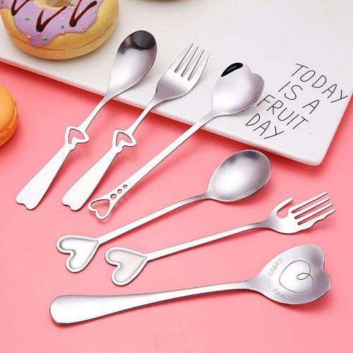 ♕s Stainless Steel Heart Shaped Fork Long Handle Sugar Spoon Tea Coffee Dessert Cutlery Teaspoon Valentine\\\'s Day Gift