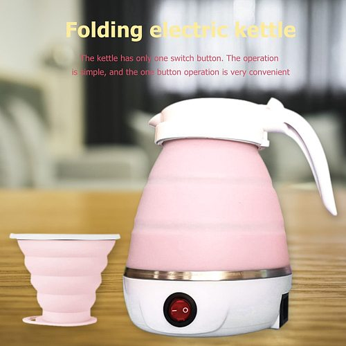 Electric Kettle Foldable Silicone Portable Water Kettle 600ml Mini Small Electric Kettles Travel Water Boiler Camping Kettle