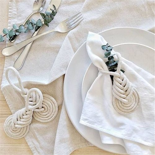 Wedding Napkin Rings Handmade Feather Macrame Cotton Napkin Ring Holder Wooden Rings Dinner Table Decoration Craft Party Supply