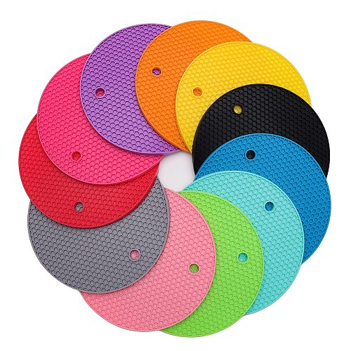Silicone Pot Holders, Multipurpose Round Pot Holders, Trivets, Jar Openers & Spoon Rests - Extra Thick