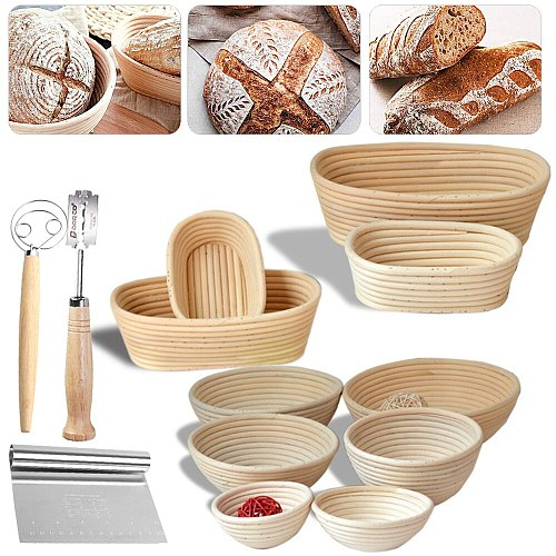 Oval/Round Dough Natural Rising Bread Proofing Basket Set Banneton Fermentation Rattan Proving Wicker Mass Basket Bakeware Tool