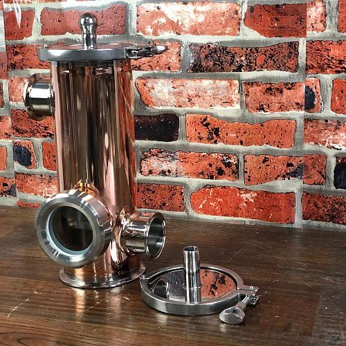 Clamp 4  (OD119mm) side ports 2  Copper Gin Basket , Aroma Basket volume 1500ml. Home distillation. Distillex.