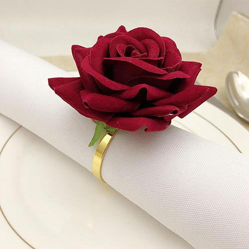 6Pcs Red Rose Shape Towel Buckle Napkin Ring Wedding Party Hotel Dinning Table Decor Anniversary Home Decoration