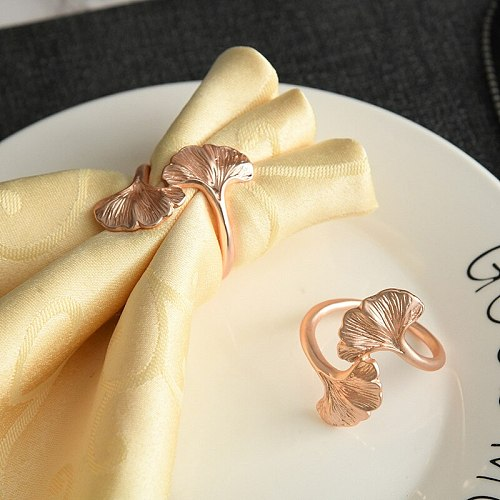 4 PCS Ginkgo Leaf Metal Napkin Ring ,Creative Rose Gold Color Napkin Buckle , for Home Dinning Room Hotel Table New Decor