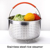 304 Stainless Steel Rice Cooker Steam Basket Pressure Cooker Anti-Scald Steamer Multi-Function Fruit Clean Basket Kitchen Tool