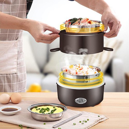 220V Electric Rice Cooker Stainless Steel 2/3 Layers Steamer Portable Meal Thermal Heating Lunch Box Food Container Warmer