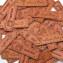 KALASO Wholesale 30pcs Handmade Labels Tags Clothes Garment PU Leather Labels Hand Made Jeans Bags Shoes Craft Sewing Supplies