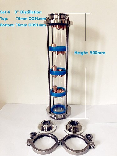 Free Shipping 3  Distillation Lens Column With 4pcs Copper Platte Sets,Tri-Clamp Sight Glass Union Stainless Steel 304
