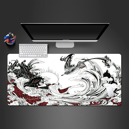 New Chinese Style Back And White Ink Mouse Pad High-Quality Rubber Mouse Pad Computer Accessories Keyboard Mouse Popular Mat