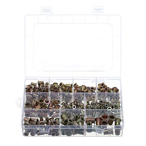300pcs Zinc Steel Rivet Nut Kit Rivnut Nutsert 150pcs Metric + 150pcs SAE Flat Head Threaded Rivet Insert Nutsert Cap Rivet Nut