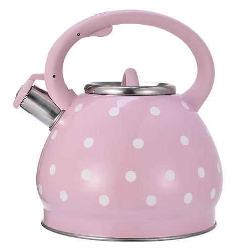 3.5L Stainless Steel Whistling Kettle Hemispherical Non-magnetic Flat-bottomed Pot Black Dot Pattern Whistle Teapot Kettle Pot