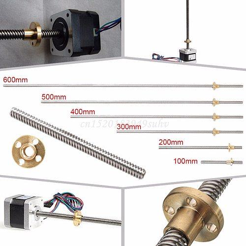 100 - 600mm 3D Printer T8 8mm Rod Lead Screw Nut Z Axis Linear Rail Bar Shaft