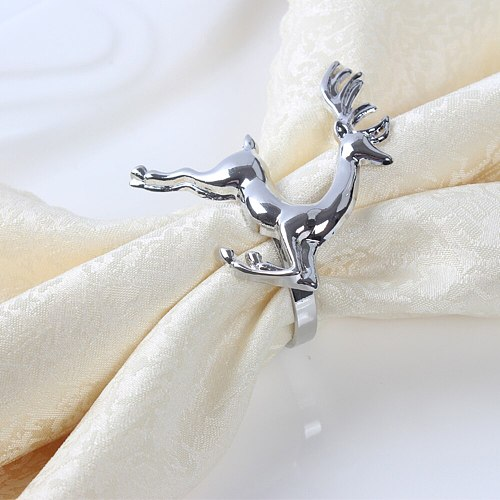 A 12pcs/lot Christmas Deer Napkin Rings Silver Gold Alloy Napkin Holder Buckle Hotel Wedding Party Table Decoration  Santa Ring