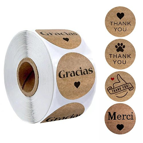 500Pcs/Roll Kraft Paper Spanish Gracias Thank You Sticker Labels For Envelope Sealing Wedding Party Decoration Stationery Supply