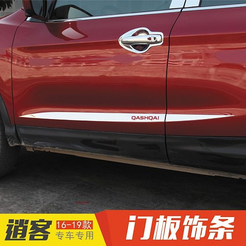 Fit For Nissan Qashqai 2016-2020 Chrome Side Door Line Garnish Body Trim Accent Molding Cover Bezel Styling Protector