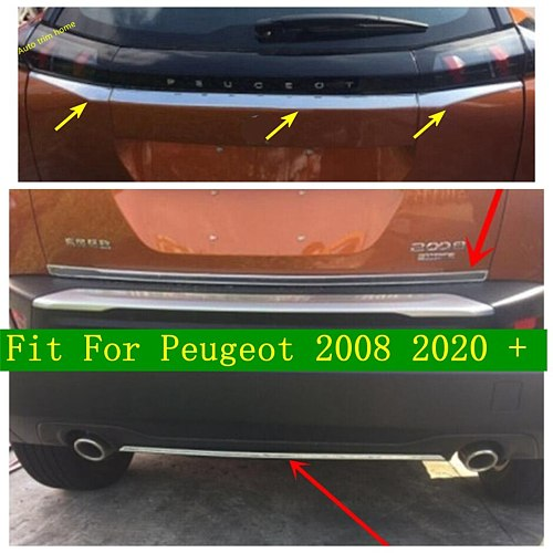 Car Rear Trunk Lid Cover Tailgate Door Handle Trim Garnish Molding Strip Streamer Stainless Steel Fit For Peugeot 2008 2020 2021