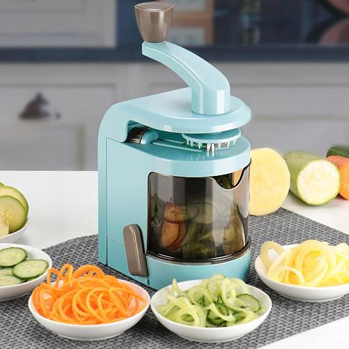 5 In 1 Creative Spiralizer Vegetable Slicer With 4 Pasta Cutter Blades Noodles Spaghetti Tool Slicer Zucchini Maker Rotatin S6N3